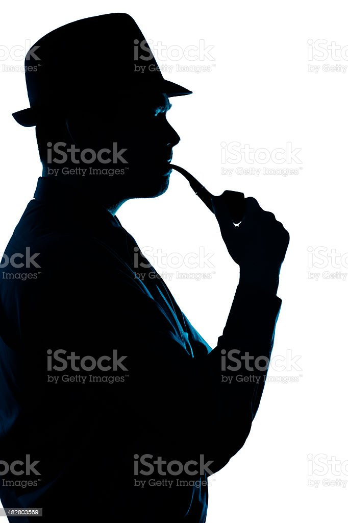 Silhouette of Man Smoking Pipe on a White Background stock photo