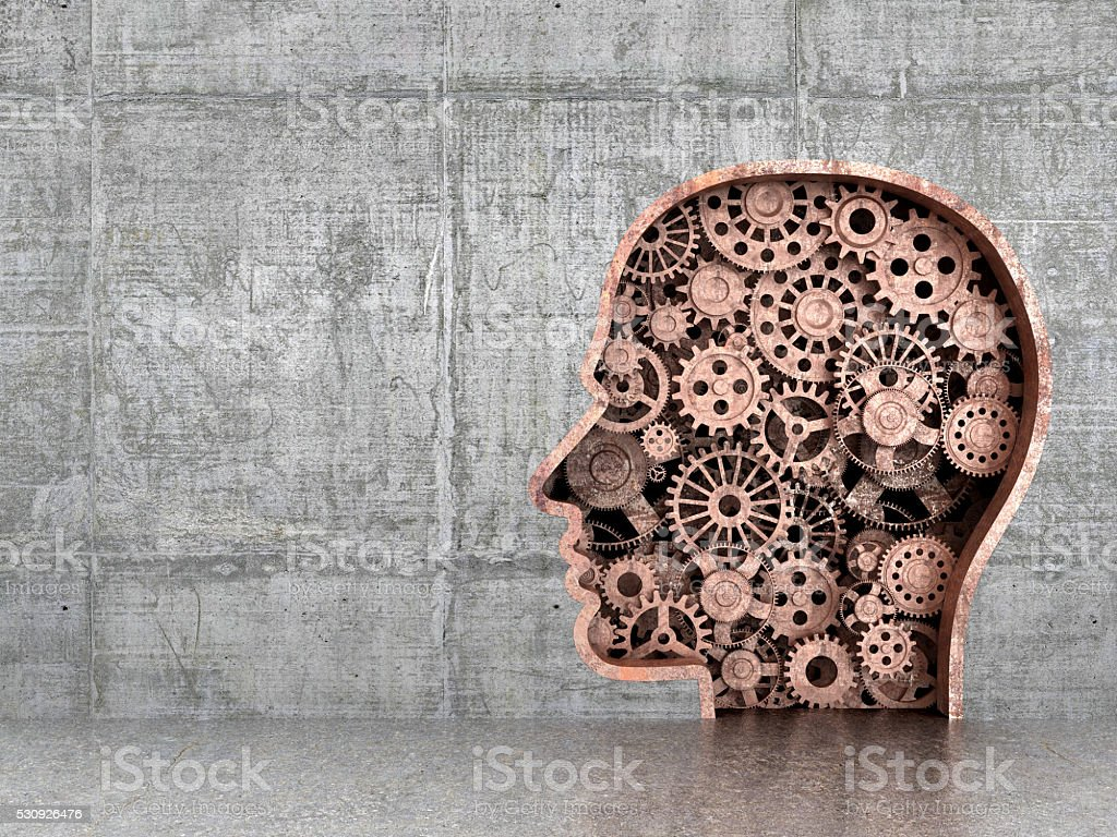 Silhouette of man which are rusty gears stock photo