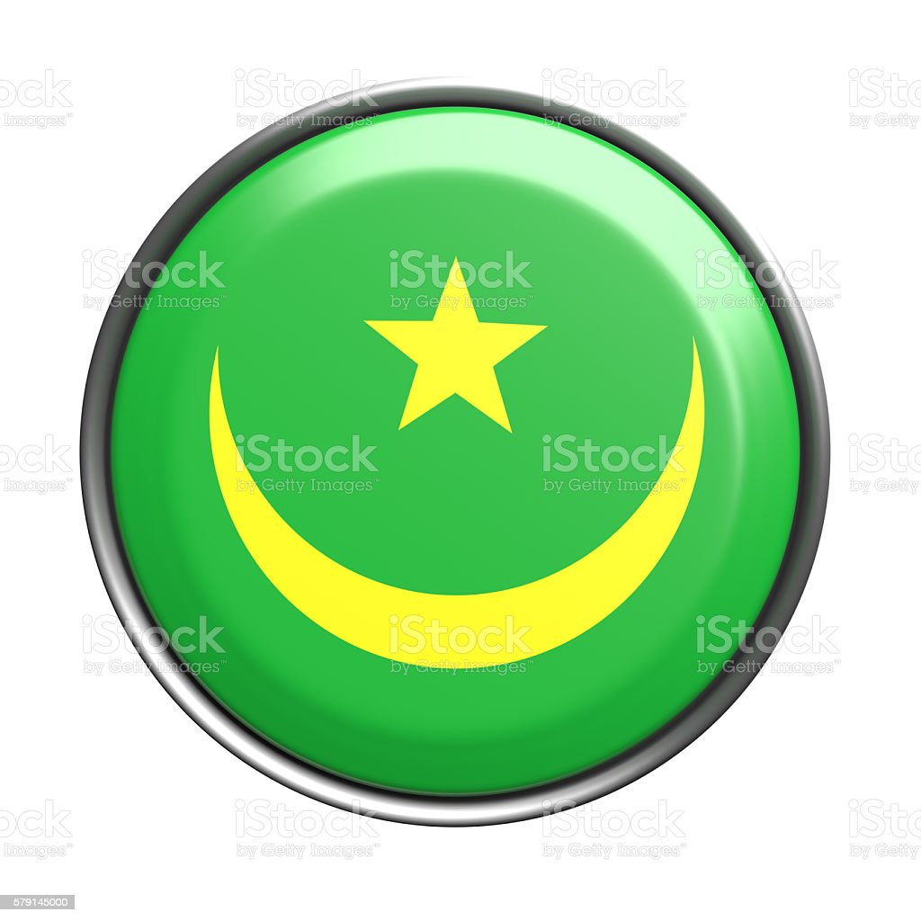 Silhouette of Mauritania button stock photo