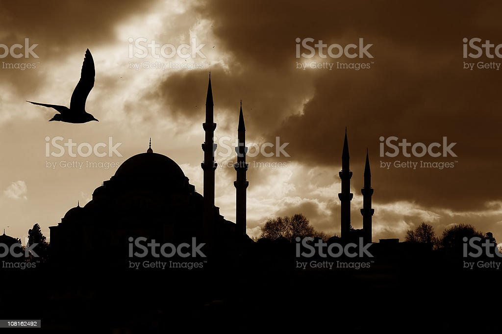 Silhouette of Mosque royalty-free stock photo