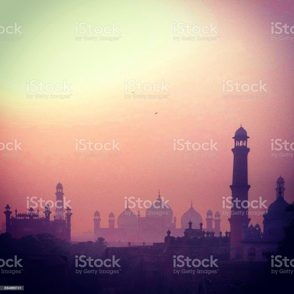 Silhouette of mosques stock photo