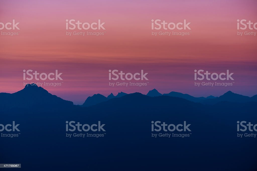 silhouette of mountains at dawn royalty-free stock photo