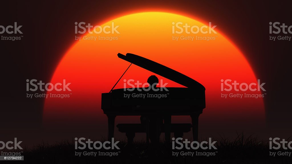 Silhouette of musician playing the piano stock photo