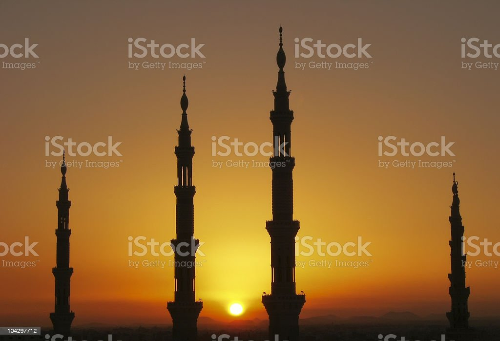 Silhouette of Nabawi mosque minarets, AL Madinah, Arabia stock photo