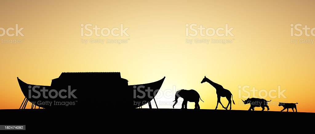 Silhouette of Noah's Ark with animals at sunset stock photo