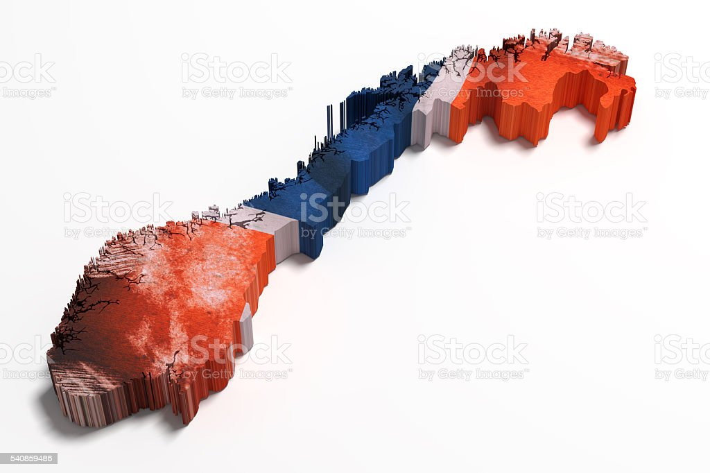 Silhouette of Norway map with flag stock photo