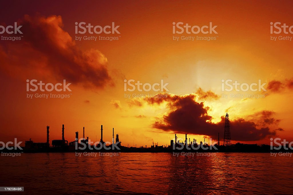 Silhouette of oil refinery royalty-free stock photo
