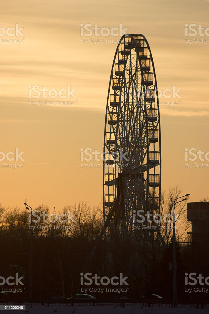 Silhouette of old ferris wheel stock photo