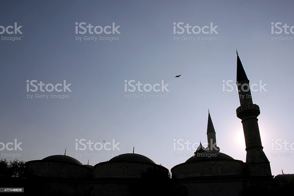 Silhouette of Old Mosque in Edirne stock photo