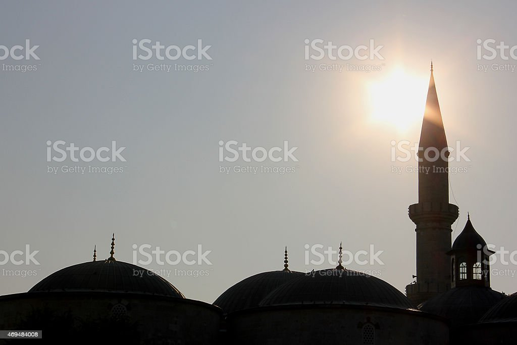 Silhouette of Old Mosque in Edirne, Turkey stock photo