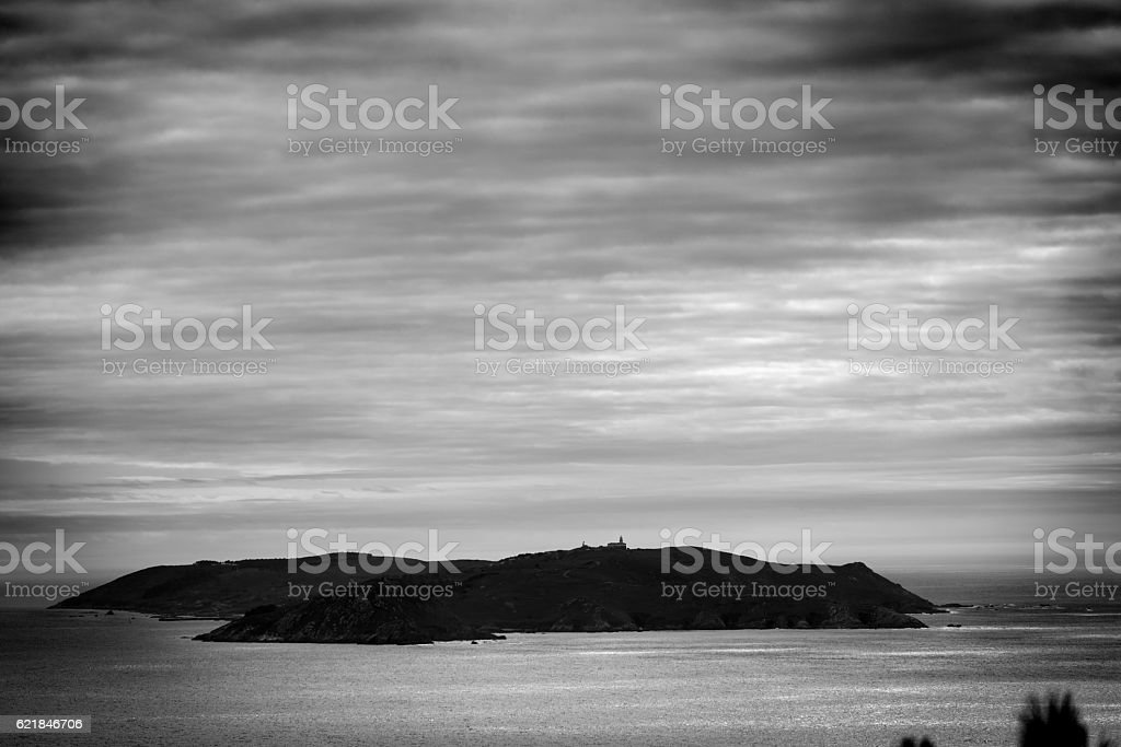 Silhouette of Ons Island in Galicia, Spain stock photo