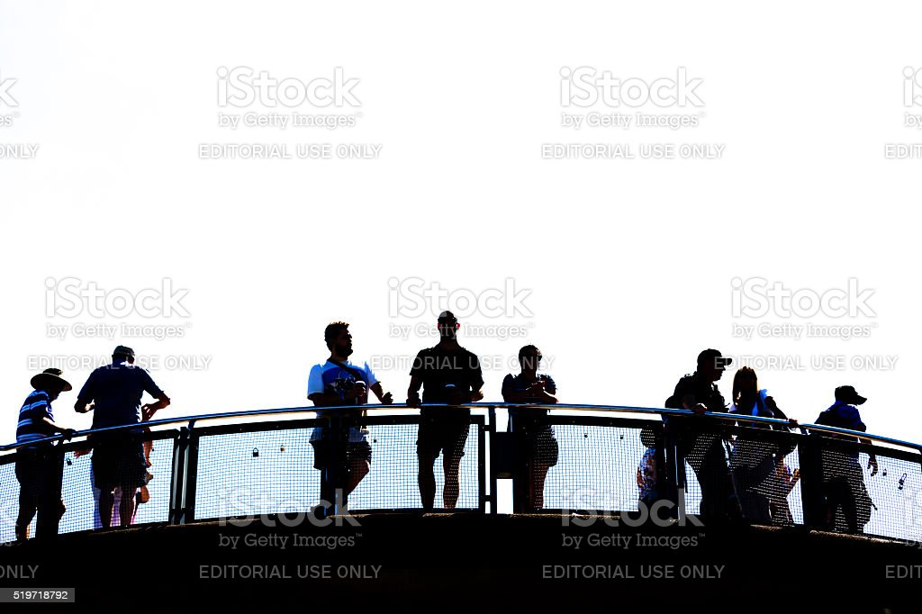 Silhouette of people standing at Echo Point lookout, copy space stock photo
