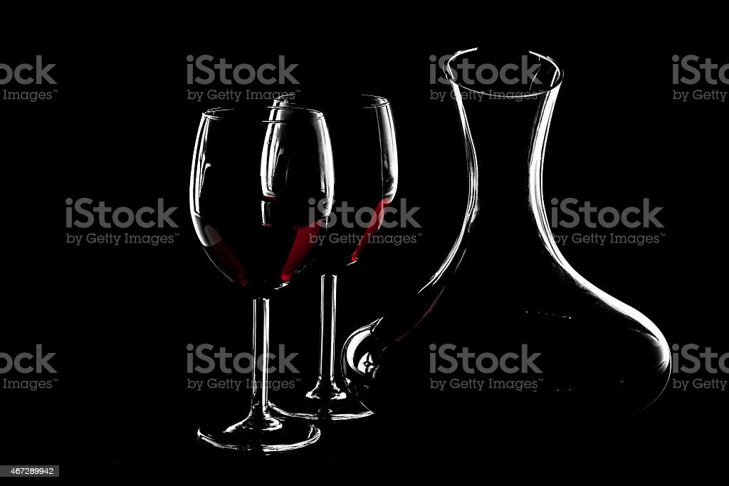 Silhouette of red wine stock photo