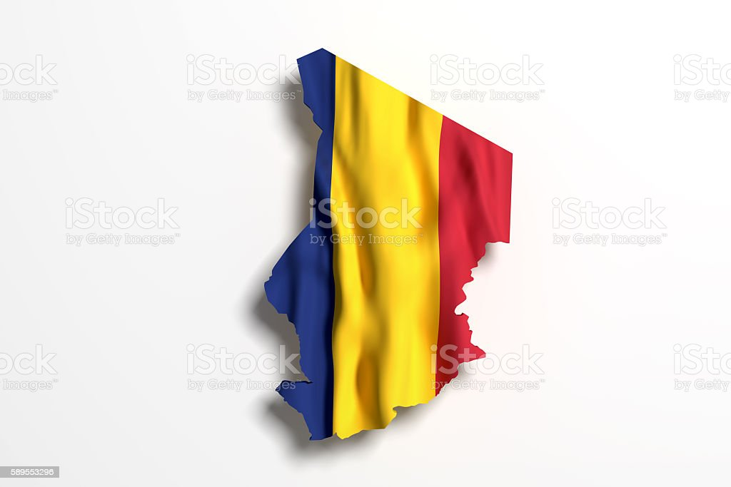 Silhouette of Republic of Chad with flag stock photo