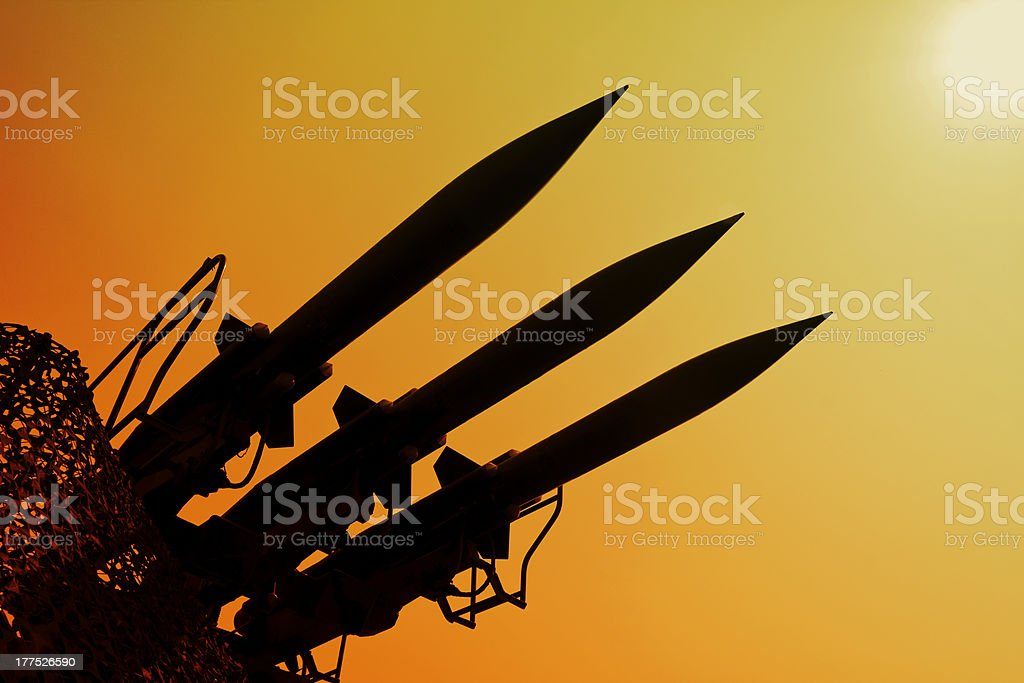 Silhouette of rockets stock photo