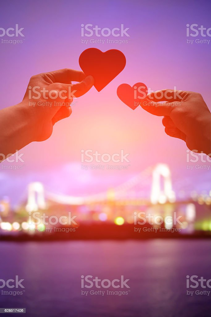 silhouette of romantic lovers stock photo