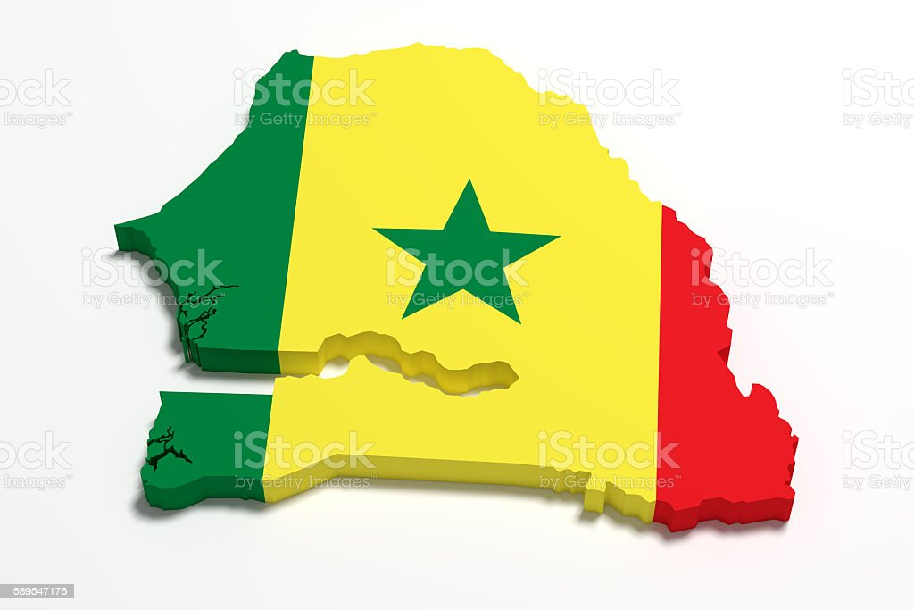 Silhouette of Senegal map with flag stock photo
