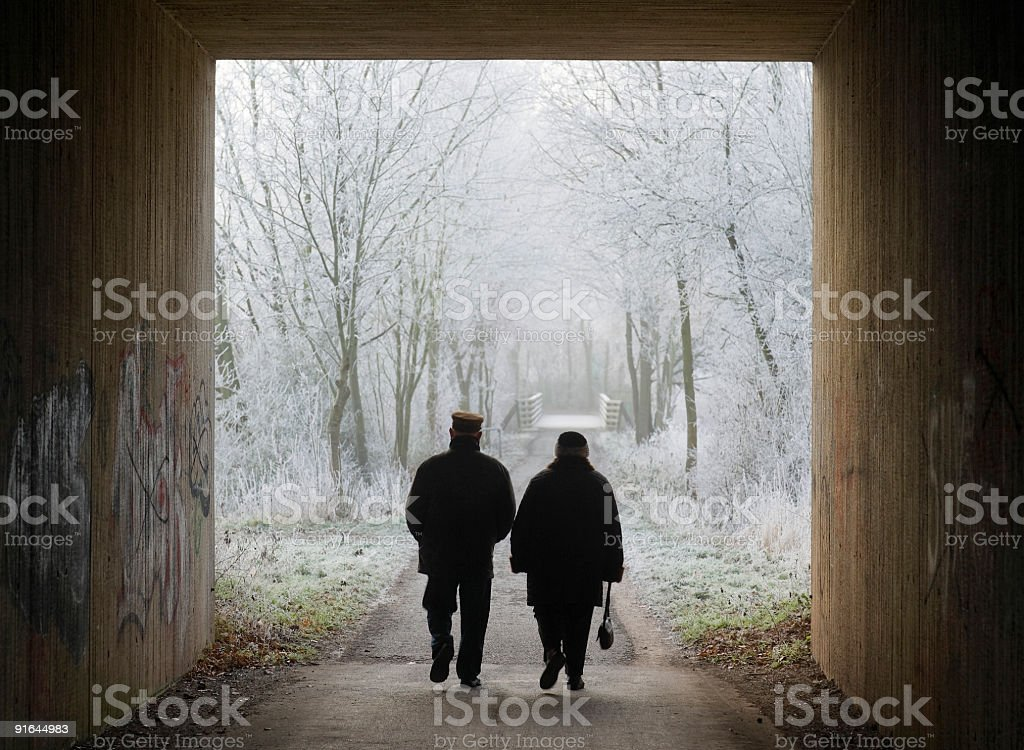 Silhouette of senior couple walking in winter through tunnel royalty-free stock photo