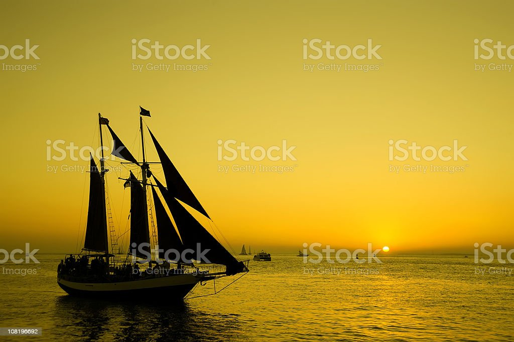 Silhouette of Ship at Dusk royalty-free stock photo