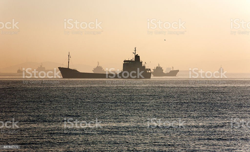 Silhouette of ships stock photo