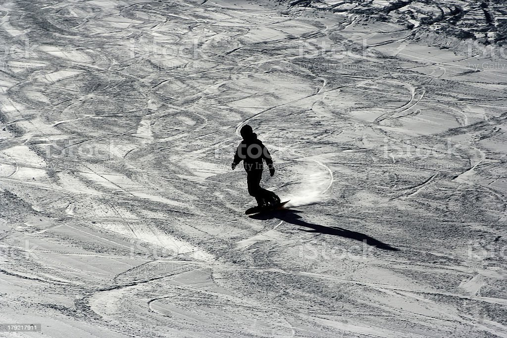 Silhouette of snowboarder royalty-free stock photo
