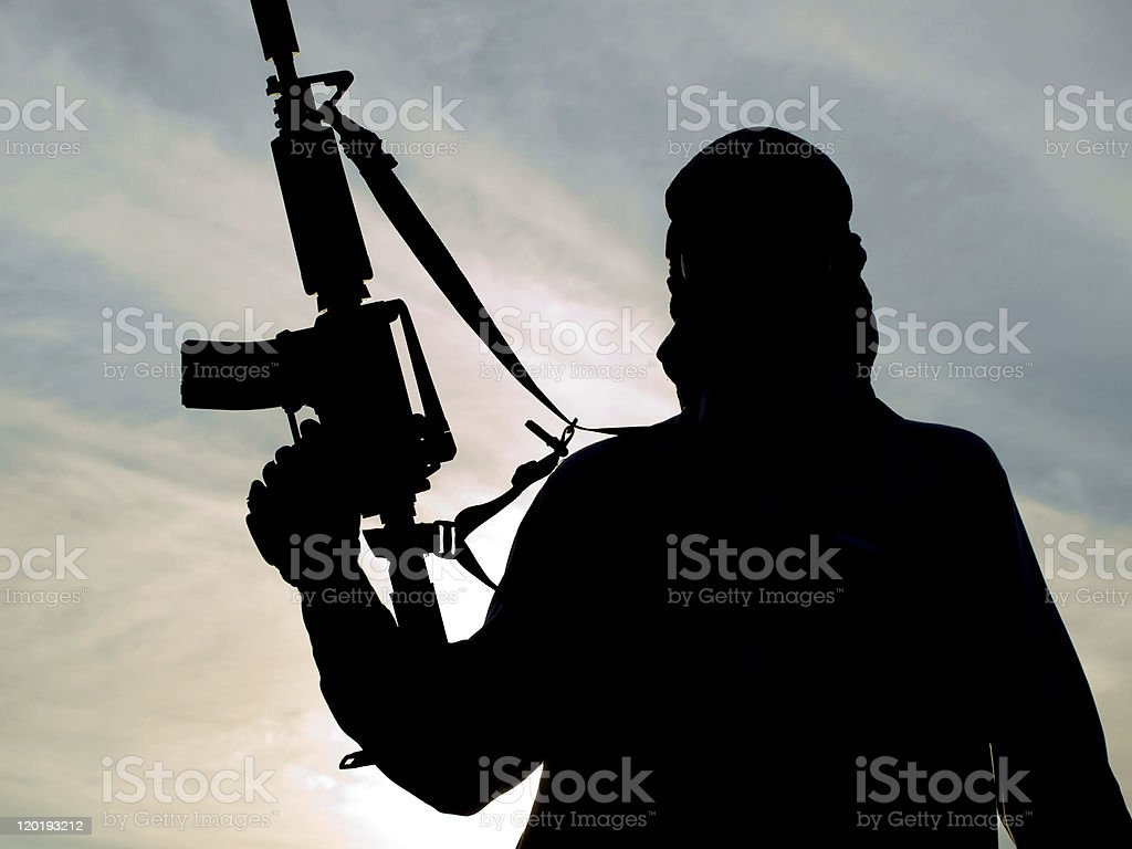 Silhouette of soldier royalty-free stock photo