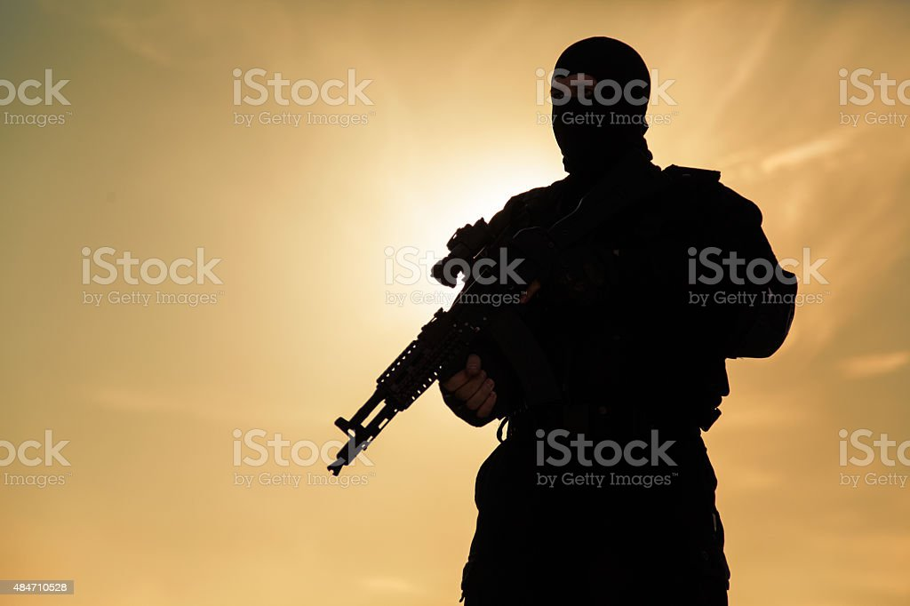 Silhouette of soldier stock photo