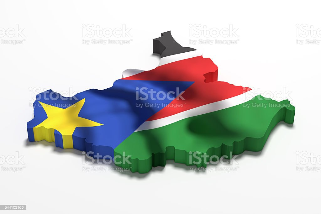 Silhouette of South Sudan map with flag stock photo