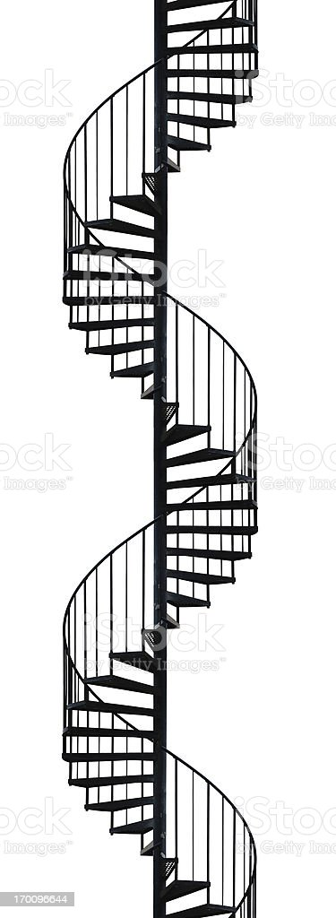 Silhouette of spiral staircase stock photo