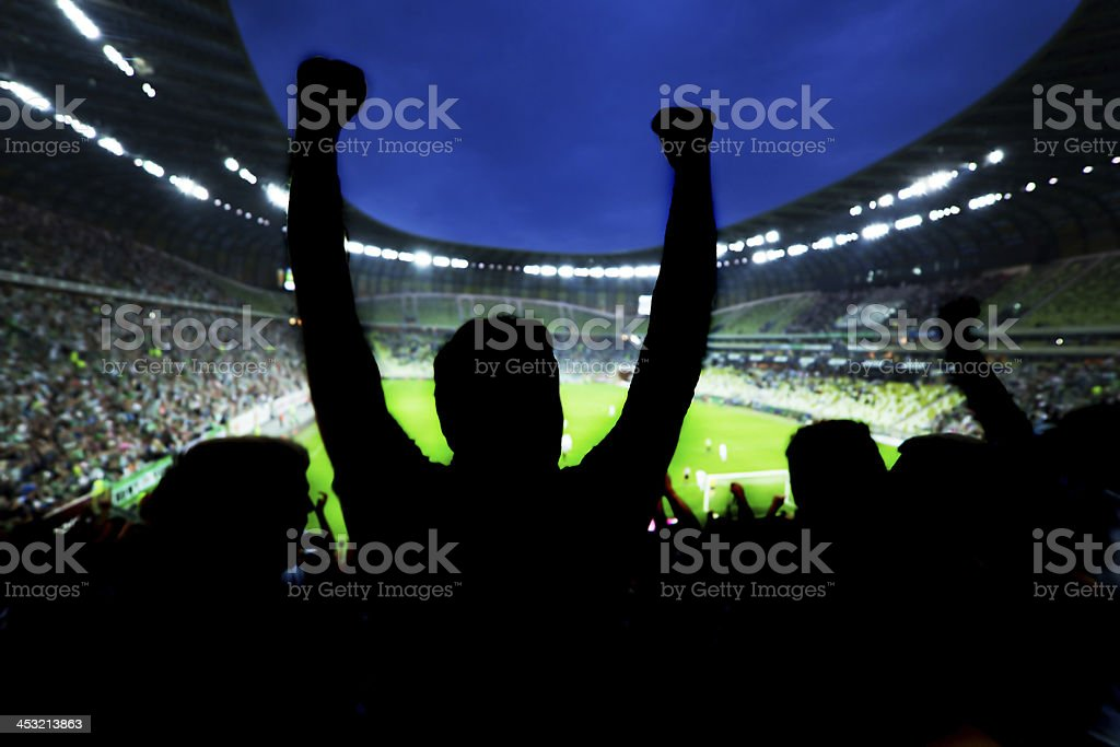 Silhouette of sports fans celebrating at arena stock photo