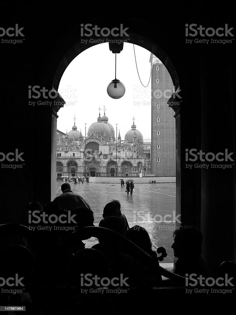 Silhouette of St Mark's Square in Venice (Italy) stock photo