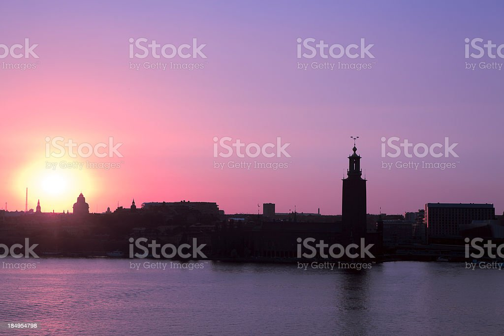 Silhouette of Stockholm City Hall stock photo
