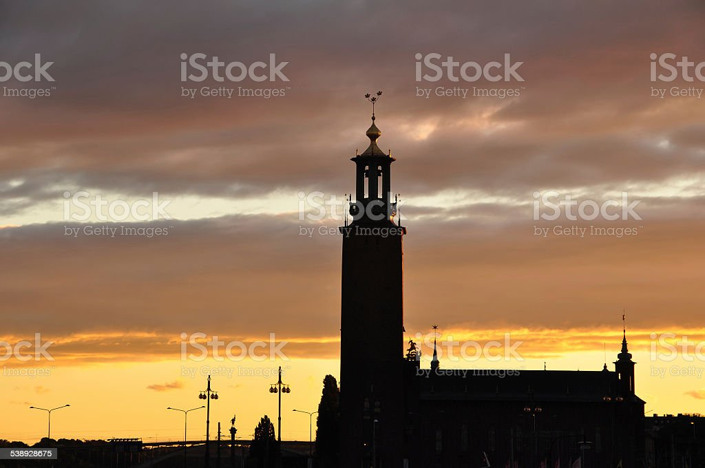 silhouette of Stockholm city hall, Sweden stock photo