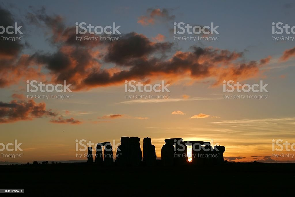 Silhouette of Stonehenge at Sunset stock photo