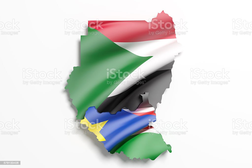 Silhouette of Sudan north and South map with flag stock photo
