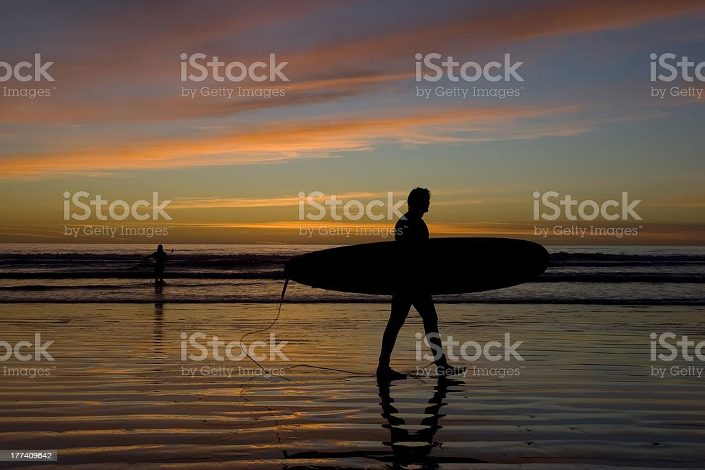 Silhouette of Surfer at Sunset royalty-free stock photo