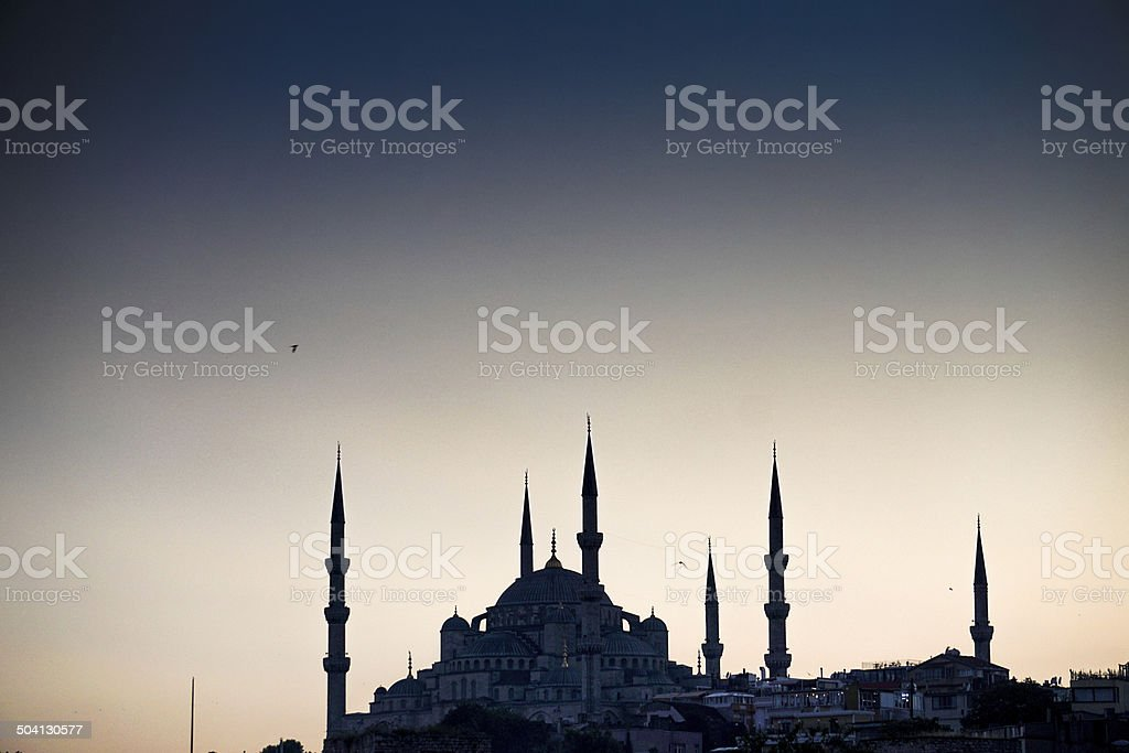 Silhouette of the Blue Mosque at sunset stock photo