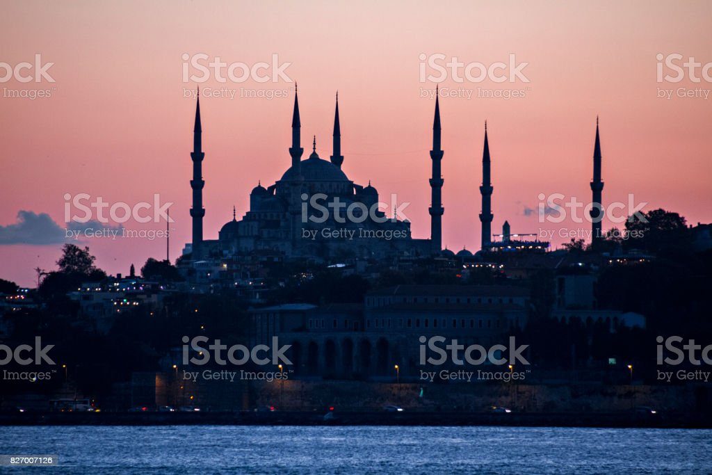 Silhouette of the Blue Mosque, Istanbul, Turkey stock photo