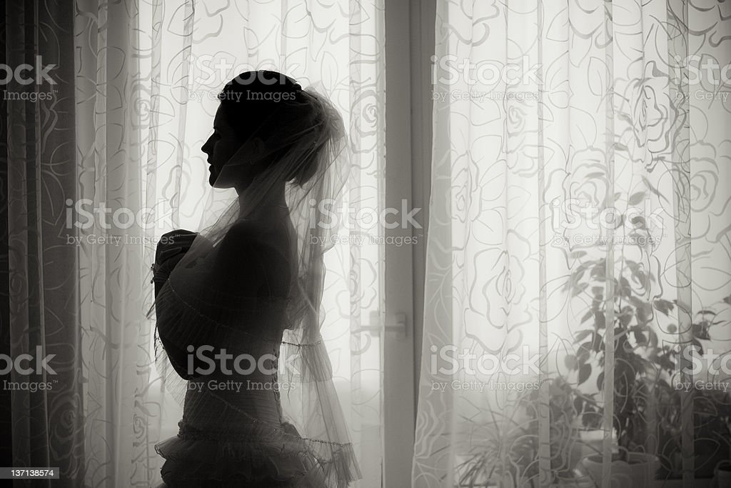 silhouette of the bride royalty-free stock photo