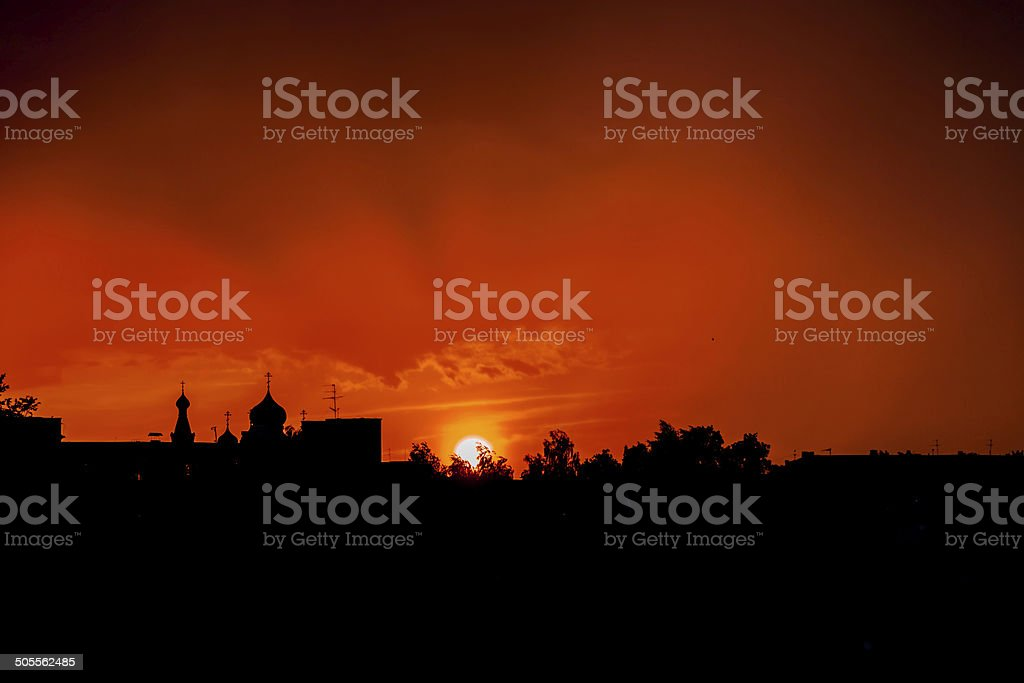 Silhouette Of The Church royalty-free stock photo