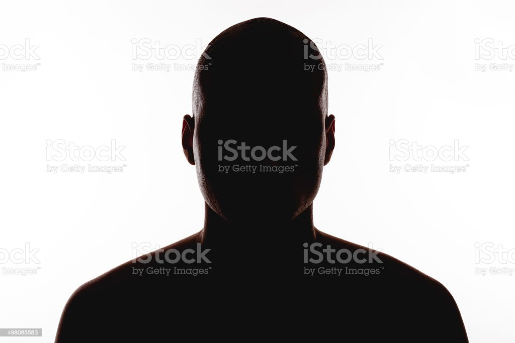silhouette of the man on a white background stock photo