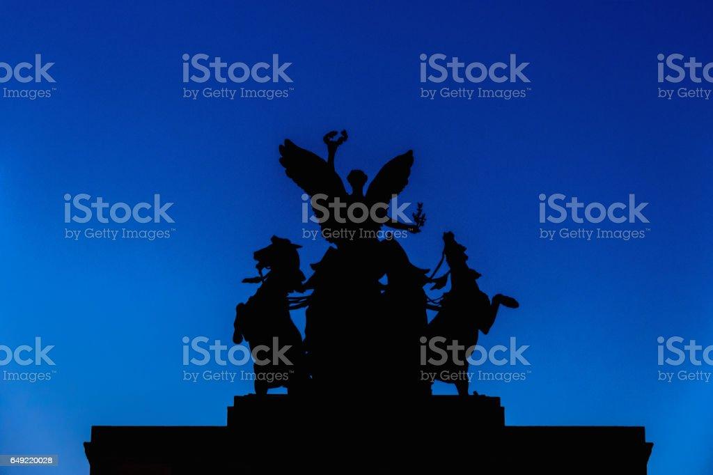 Silhouette of The Quadriga on top of Wellington Arch stock photo