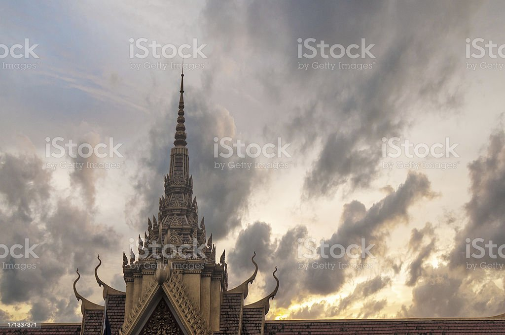 Silhouette Of The Royal Palace In Phnom Penh, Cambodia stock photo