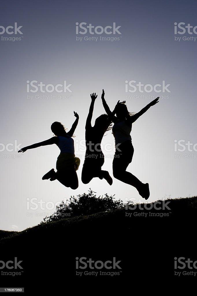 Silhouette of three joyful girls in Nature. stock photo