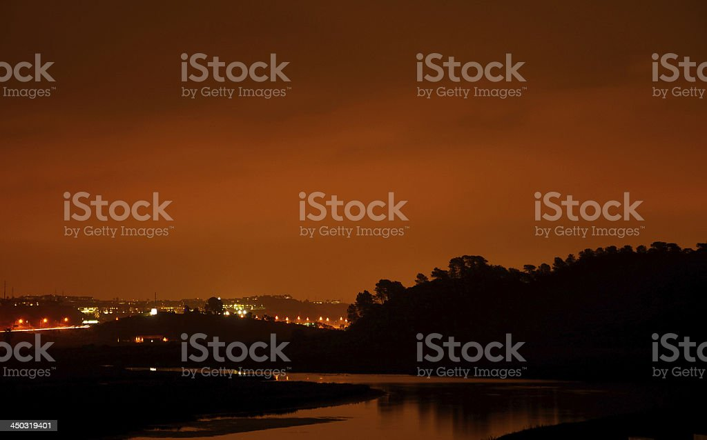 Silhouette of Torrey Pines (San Diego) During Dusk stock photo
