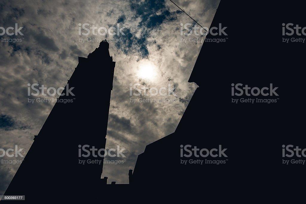 Silhouette of tower Ghirlandina stock photo