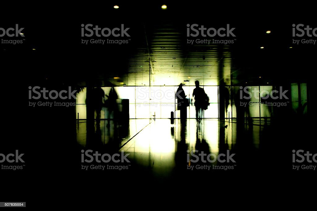 Silhouette of traveling couple stock photo