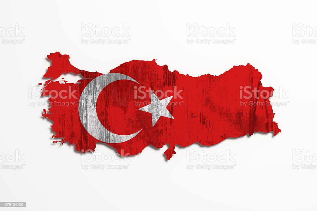 Silhouette of Turkey map with flag stock photo