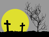 silhouette of two cross and dead tree with full moon