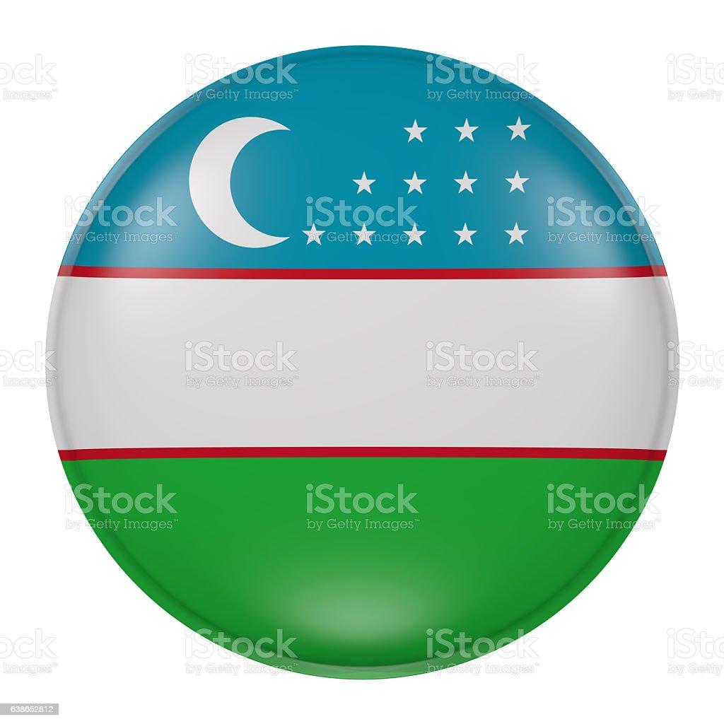 Silhouette of Uzbekistan button stock photo